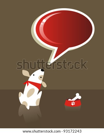 The dog with bone food and red social bubble over brown background.