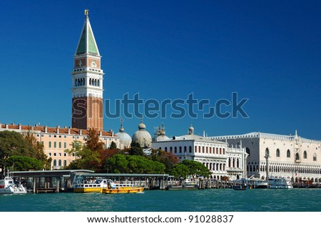 The Doge's Palace and St Mark's Square from the Lagoon. Venice, Italy.