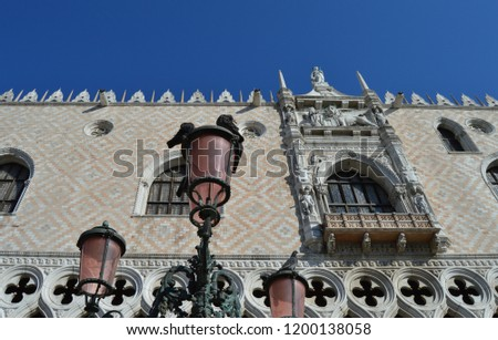 The Doge's Palace, Palazzo Ducale, Venice, Italy - facade architectural details