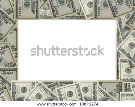The dollar banknotes frame with white copy space