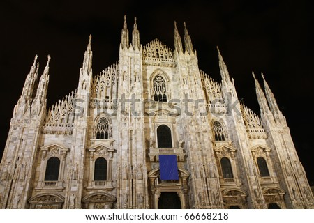 the dome of milan, night shot
