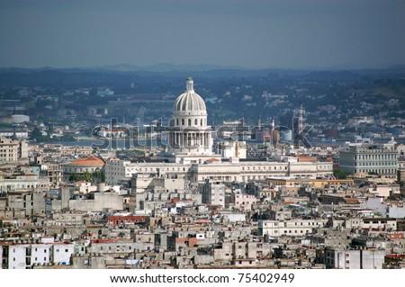 The dome of the Capitolio legislative building dominating the skyline of the city of Havana, Cuba.