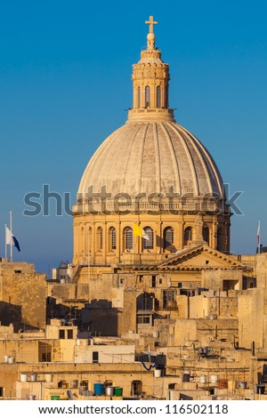 The Dome of the Carmelite Church in Valletta, Malta - stock photo