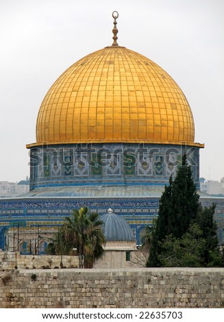 The Dome of the Rock Mosque in Jerusalem - The Dome of the Rock is a shrine located on the Temple Mount in the Old City of Jerusalem.