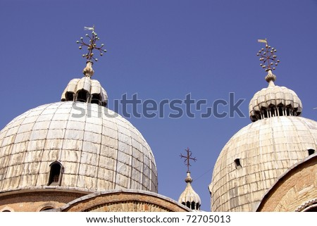 The domes of the San Marco Basilica in Venice in Italy