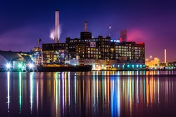 The Domino Sugars Factory at night in Baltimore, Maryland.