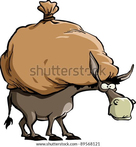 The donkey carries a large bag, raster