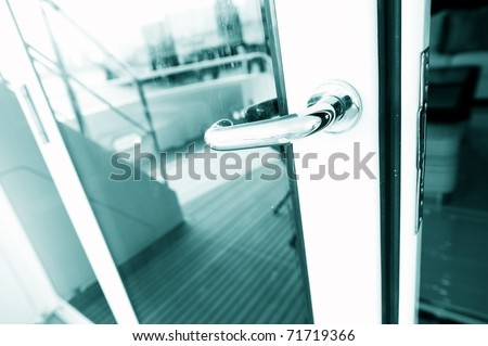 The door handle of luxury yacht.