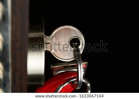the door lock with the handle and a key. Stock photo ©