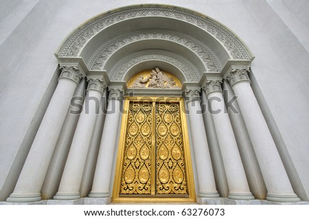 The Door of Church with Jesus Sculpture, at Assumption University Thailand