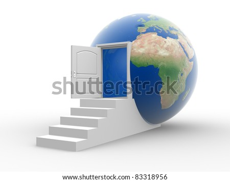 The door opened into a earth globe. 3d render illustration