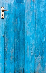 The doors made of wood painted blue