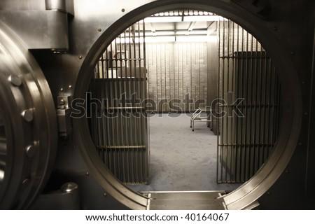 The doorway of a bank vault.