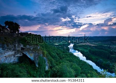 The Dordogne river from Domme at sunset, Dordogne, France.