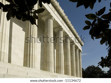 the Doric columns of the Lincoln memorial in sunlight