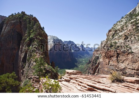 The double cliff trail at Angels Landing in Zion National park in Utah. - stock photo