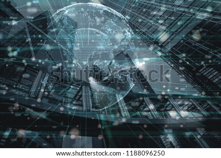 the double exposure image of financial, economy and invesment grap and digital global earth and the Hong kong cityscape,business and tehcnology background #1188096250