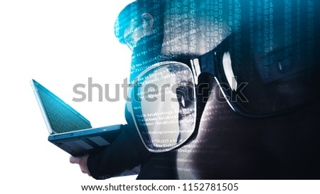 The double exposure image of the businessman using a laptop overlay with source code and programmer image and copy space. The concept of programming, cyber security, business and internet of things.
