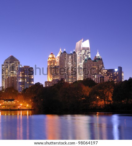 The Downtown Atlanta, Georgia Skyline from Piedmont Park's Lake Meer.