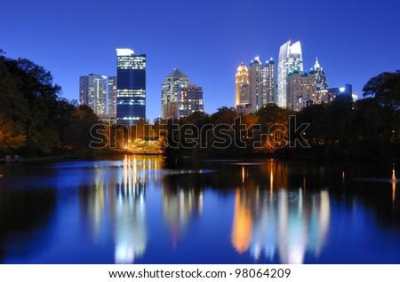 The Downtown Atlanta, Georgia Skyline from Piedmont Park's Lake Meer.