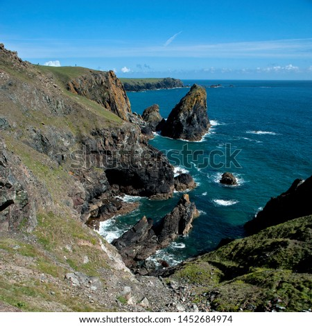The dramatic coastline and cliffs near Kynance Cove in Cornwall, England. #1452684974