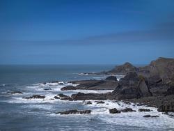 The dramatic, rugged coastline at Hartland Quay, north Devon, England, UK.