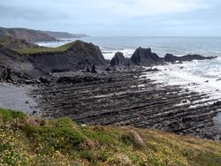 The dramatic, rugged coastline at Hartland Quay, north Devon. Facing south.