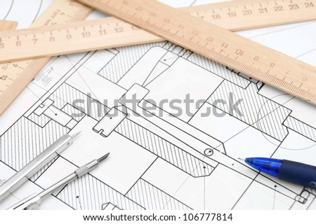 The drawing, rulers, compasses and pencil.