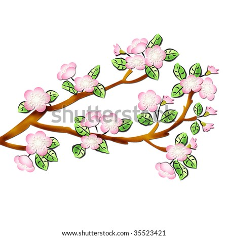 The drawn branch of a blossoming apple tree stock photo