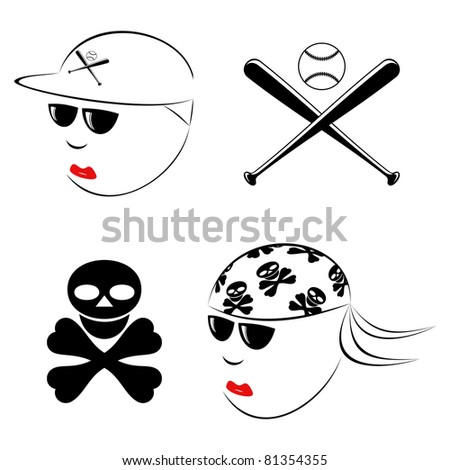 The drawn heads of the baseball player and the biker on a white background.EPS version is available as ID 77781259.