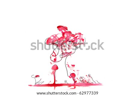 the drawn portrait of a woman with a hat surrounded with flowers and mushrooms against an abstract red background isolated on white