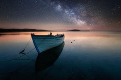 The dreamy cliff, under the Galaxy. Milky Way over the sea. Long time exposure night image with Milky Way Galaxy above the Black sea. Landscape, Astrophotography and Nightscape photography, Milky way.