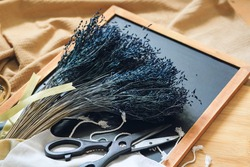The dried dark blue flowers for the craft