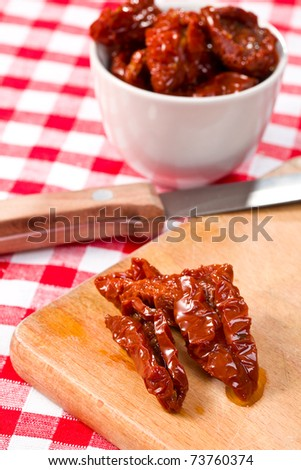 the dried tomatoes on kitchen table