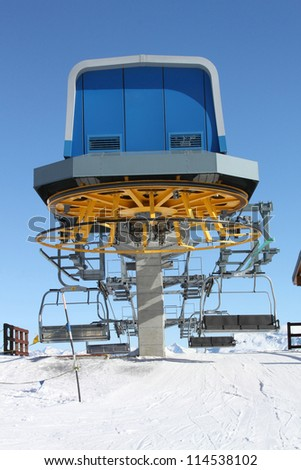 The drop-of station of the chair lift in the Alps