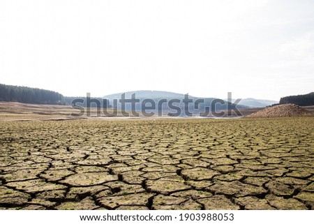 The drought bottom of the an empty dam in Bulgaria. Hot weather and climate changes makes the dam almost empty in 2021. Climate disaster.