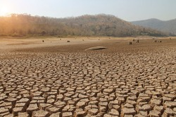 The drought land texture in Thailand. The global shortage of water on the planet. Global warming and greenhouse effect concept