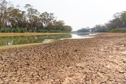 The drought river in summer of Bogan river at Nyngan regional town of New South Wales, Australia.