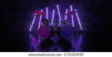 The drum kit is located in a dark room and is illuminated by neon lamps that hang on the wall. A cyberpunk-style drum kit, illuminated by neon light and reflected on the glossy floor. 3D Render.
