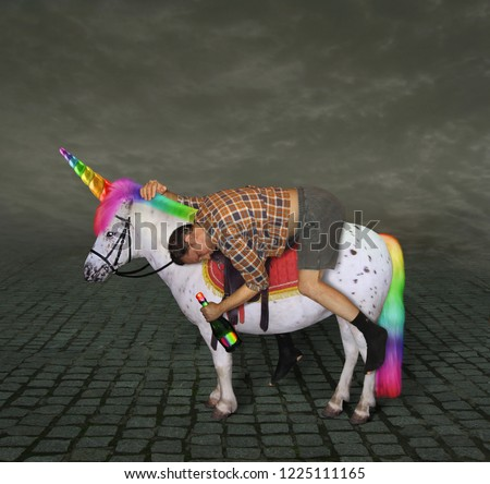 The drunk man with a bottle of rainbow wine is riding the unicorn. #1225111165