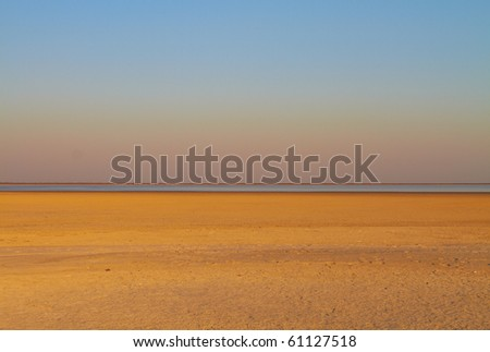 The dry Makgadikgadi Pan near Nata in North East Botswana, Southern Africa