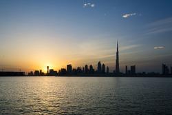 The Dubai Skyline at sunset taken from Dubai Creek,