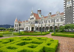 The Dunedin Railway Station in Dunedin, a city at the South Island of New Zealand