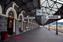The Dunedin Railway Station is empty at 10.15 in the morning.