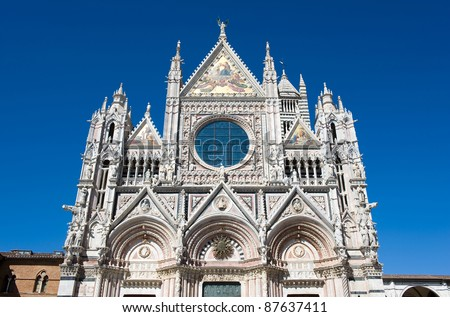 The Duomo (cathedral) in the heart of Siena in Tuscany in Italy. - stock photo
