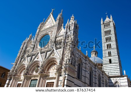 The Duomo (cathedral) in the heart of Siena in Tuscany in Italy.