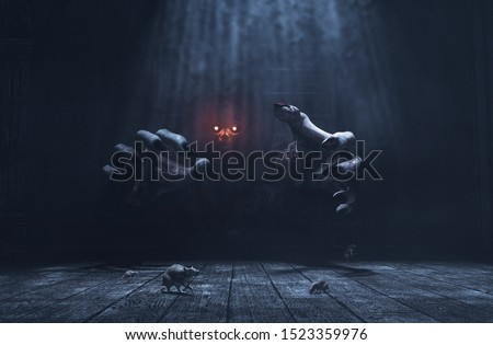 The dwelling,The place has it own devil,Monster in haunted house,3d illustration Foto stock ©