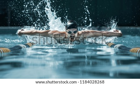 The dynamic and fit swimmer in cap swimming by butterfly style in the pool. The young man. Sport, healthy lifestyle, competition, training, athlete, energy concept #1184028268