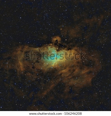 The Eagle Nebula in the Hubble Space Palette