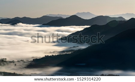The Early Dawn sea of clouds Viewed from Yongam Temple in Okcheon
